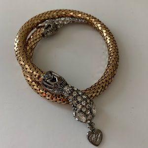 Betsey Johnson Gold Crystal Snake Bracelet
